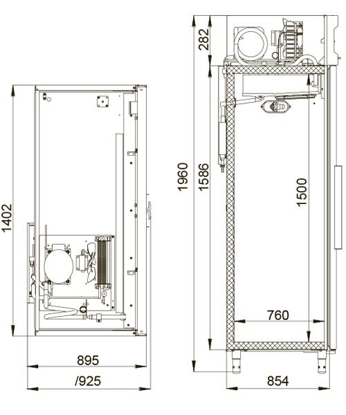 Холодильный шкаф POLAIR ШХКФ-1,4 (0,7-0,7) - 1