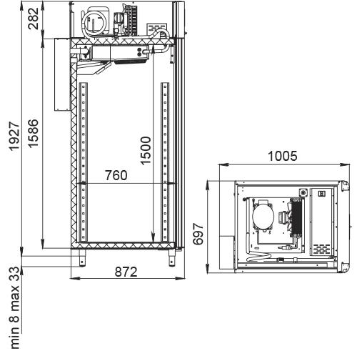 Специализированный шкаф для колбас POLAIRCS107-Salami (со стеклянной дверью) - 2