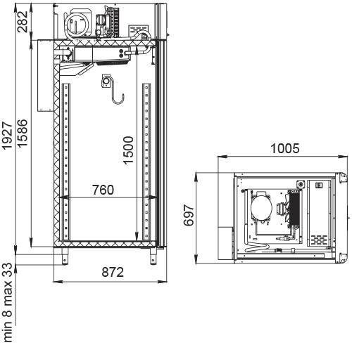 Специализированный шкаф для мяса POLAIRCS107-Meat Тип 1 (со стеклянной дверью) - 2