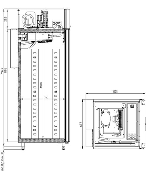 Специализированный шкаф для теста POLAIR CS107-BakeryBr Тип1 (со стеклянной дверью) - 1