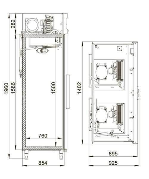 Комбинированный шкаф POLAIR CC214-S (ШХК-0,7-0,7) - 1