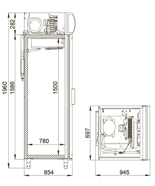Холодильный шкаф POLAIR DP107-S + замок - 1
