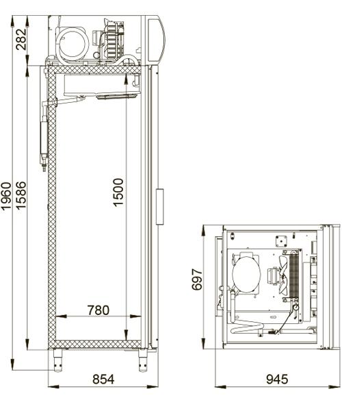 Холодильный шкаф POLAIR DM107-G (ШХ‑0,7 ДС) - 1