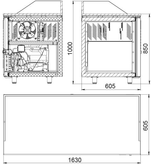Холодильный стол POLAIR TM3pizza-GC - 1
