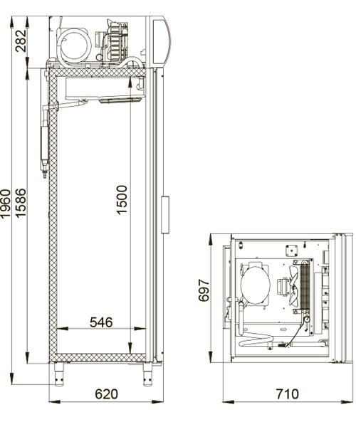 Холодильный шкаф POLAIR DM105-S (ШХ-0,5 ДС) + замок - 1