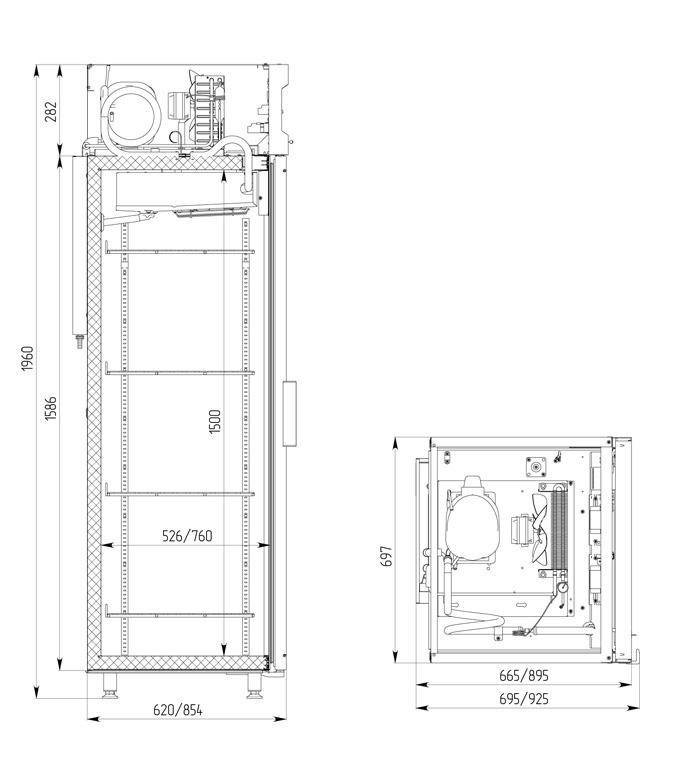 Холодильный шкаф POLAIR DM107-S безканапе - 1