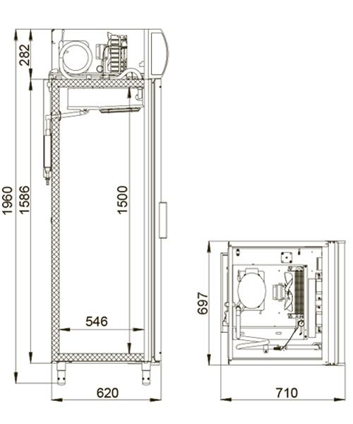 Холодильный шкаф POLAIR DP105-S + замок - 1