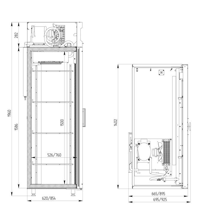 Холодильный шкаф POLAIR DM110-S безканапе - 1